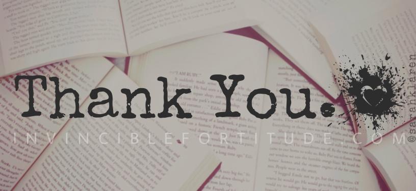 Thank You. - Sarah Klaren | Invincible Fortitude